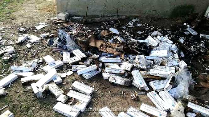 Un contrabandist a încercat să scape de țigări, arzându-le. Ce s-a întâmplat imediat