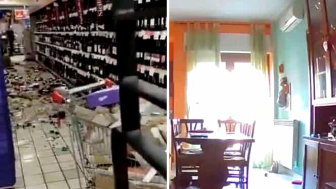 Trei cutremure puternice în Italia. Casele au început să se zguduie în urma seismului. Video