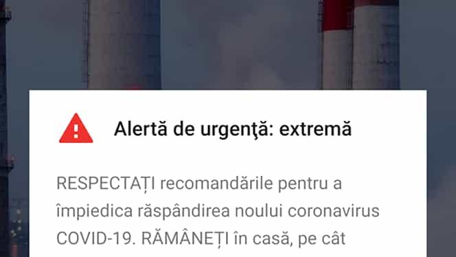 """Avertisment prin RO-ALERT despre coronavirus! """"Rămâneți în casă, pe cât posibil"""""""
