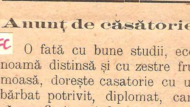 """Cum arăta un anunţ la matrimoniale într-un ziar din România din martie 1909: """"O fată econoamă şi cu…"""""""