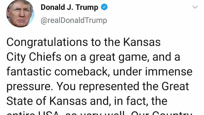 Donald Trump, gafă după Super Bowl. Preşedintele SUA a încurcat statele Kansas şi Missouri