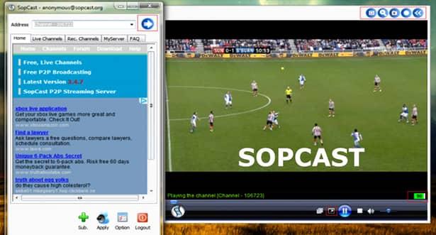 SopCast poate fi folositpentru a vedea meciuri live și filme online