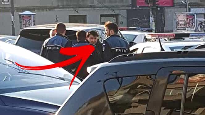 Ionuț Luțu, înconjurat de polițiști lângă piața Dorobanți. Imagini EXCLUSIVE cu omul lui Gigi Becali în timp ce dădea explicații