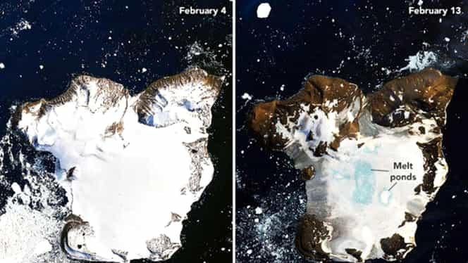 Imaginile NASA care probează impactul încălzirii climei. Topire accelerată a zăpezilor în Antarctica