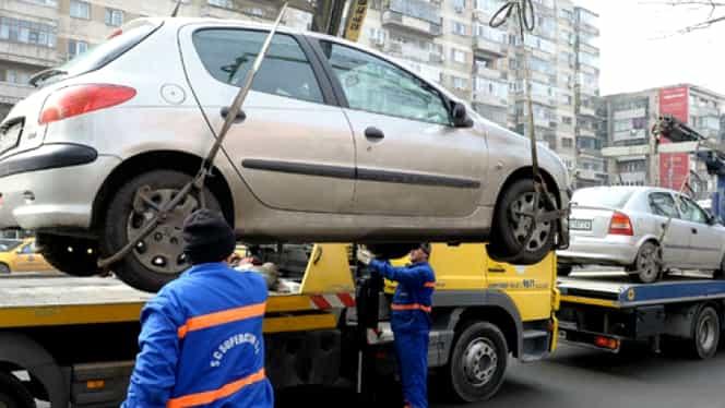 Mașini ridicate de primărie, în București! Cât costă să recuperezi autoturismul