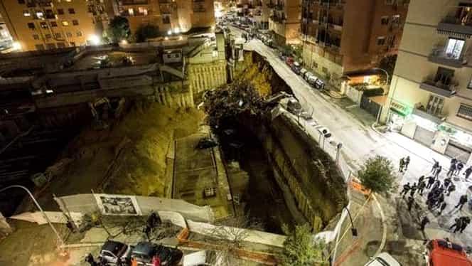 Crater uriaş apărut într-un cartier din Roma! Zeci de oameni au fost evacuaţi!