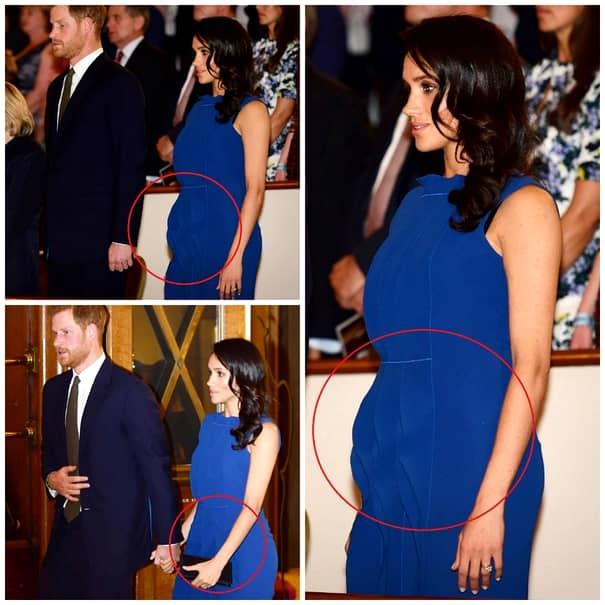 Însă, cu toate că anunțul oficial a fost făcut tocmai luni, pe data de 15 octombrie, din partea Casei Regale, câțiva din cei prezenți la nunta Prințesei Eugenie și-au dat cu presupusul după ce i-au văzut îmbrăcămintea Ducesei de Sussex. Aceasta a purtat o rochie total diferită față de ce ar alege în mod normal, lucru care a pus semne de întrebare legat de starea în care se află Meghan. Criticii au spus că a ales o rochie cu o culoare cam închisă pentru genul acesta de eveniment.