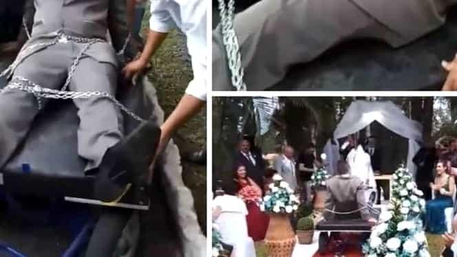 Imagini virale de la o nuntă! Şi-a legat soţul cu lanţul şi l-a dus în faţa preotului!