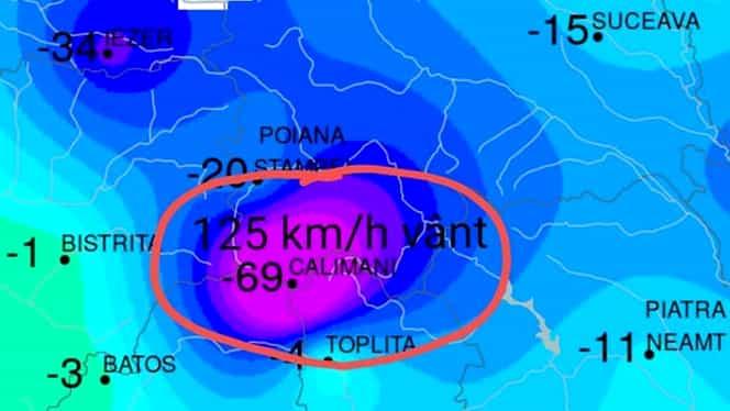 Record meteo în Munții Călimani. Temperatura a atins nivelul de la Polul Nord