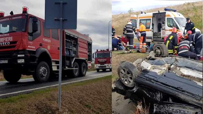 Grav accident pe A1, între Deva și Nădlac. O tânără a murit, alți doi sunt răniți. Un elicopter SMURD, la fața locului