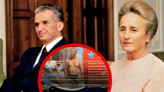 O fotografie cu Nicolae Ceaușescu și soția sa Elena, ambii în costum de baie, poster controverat pe un metrou din Moscova