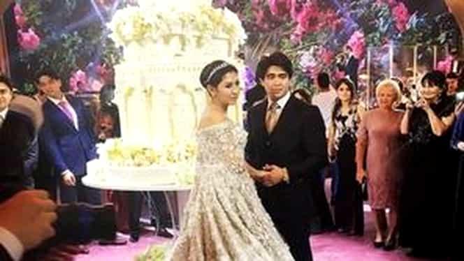 Cea mai extravagantă nuntă din istorie. Cum arată rochia de mireasă de 500.000 de lire. FOTO