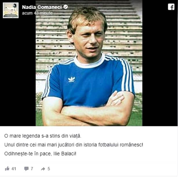 Ilie Balaci a murit! Iată reacția Nadiei Comăneci, după moartea acestuia