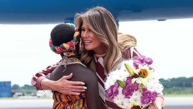 Melania Trump, rochie de 2.000 de dolari, în timpul vizitării unui spital din Ghana