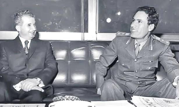 """Nicolae Ceaușescu și colonelul Muammar Abu Minyar al-Gaddafi, conducătorul Libiei între anii 1969-2011, ucis și el de """"revoluționari"""""""