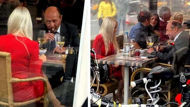 Traian Băsescu a fost fotografiat într-o cafenea, cu o femeie, la Bruxelles. FOTO