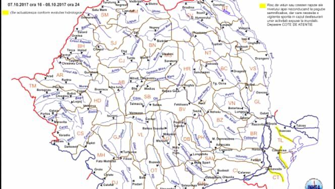 Cod galben de inundaţii pe râurile din Dobrogea, de sâmbătă după-amiază până duminică seară