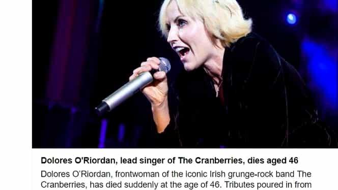 În luna ianuarie, Andrei Gheorghe deplângea moartea solistei The Cranberries