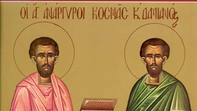 Calendar ortodox, 1 noiembrie: pomenirea sfinților Cosma și Damian