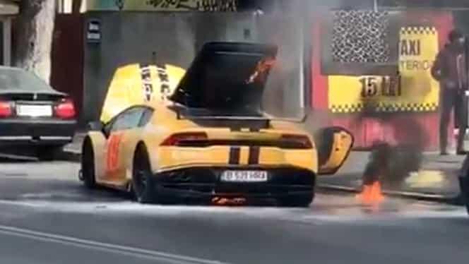 Lamborghini în flăcări, în Capitală! Cine se afla la volanul mașinii VIDEO