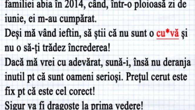 """Anunţul uluitor postat de un medic din Bucureşti a devenit viral: """"Se vinde zîna frumoasă"""""""