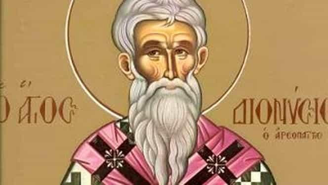 Calendar ortodox, 3 octombrie. Sfântul Dionisie Areopagitu, primul autor care a ierarhizat îngerii