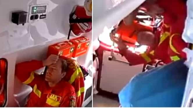 Imagini din interiorul unei ambulanțe din Pitești implicată într-un accident rutier! Paramedicii zboară pur și simplu după impact. Video