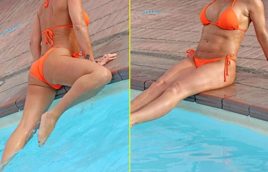 GAFA MONUMENTALA, la piscina! Are 44 de ani, dar nu e in stare sa-si pazeazca goliciunea! Imagini memorabile!