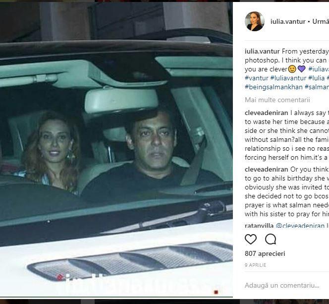 Iulia Vântur și Salman Khan au fost surprinși într-o mașină, iar mesajul pe care l-a postat blondina lasă loc de foarte multe interpretări