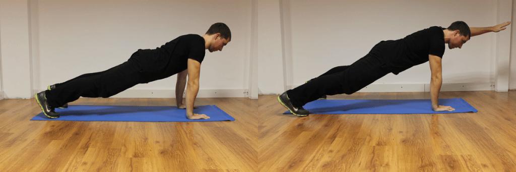 Exerciții pentru abdomen: flotări cu ridicare de braț. Ajutați-vă cu o băncuță