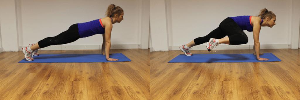 """Exerciții pentru abdomen: """"Alpinistul"""". Combină grupele musculare """"muncite"""" și de exercițiul anterior, """"Scândura"""", dar cu mai multă solicitare pe abdomen."""