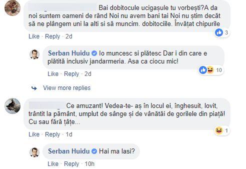 """Șerban Huidu, scandal de mari proporții cu oamenii, în spațiul virtual. Fostul prezentator a cronicii, de la Prima Tv a postat în urmă cu caâteva zile un mesaj pe Facebook, în care își expunea părerea despre protestul Diaspora și urmările lui. Cunoscutul om de televiziune a scris, în special, tot ce avea de zis despre acțiunile jandarmilor, dar și despre femeia jandarm despre care se spunea că ar putea rămâne paralizată. Chiar dacă subiectul postării lui era clar, oamenii care îl urmăresc pe Facebook au redeschis subiectul care l-a făcut să se retragă din spațiul public acum mulți ani. Aceștia l-au blamat pentru faptele din 2011, adică accidentul rutier din acea iarnă, în care și-au pierdut viața trei persoane, considerând că nu are dreptul să comenteze pe baza protestul, a femeii jandarm sau a jandarmilor. Acesta a început cu o ironie fină """"NOU! Da volum pieptului tău, în numai trei zile, folosind Alifia de Bastonele Jandarm'oreal!(...)Băi incredibil: sunt 2 variante și-a pus țâțe de aia a stat atât de mult în spital ori unde dau protestatarii crește. Sau a trimis jandarmeria pe alta să repare imaginea stricată"""", a scris Șerban Huidu, alături de poza de înainte și după a ieșirii din spital a femeii jandarm. Șerban Huidu, scandal! Replicile oamenilor nu au contenit să apară Persoanele din spțiul virtual au comentat cu multă supărare la cele spuse de Șerban Huidu, toți legându-se de faptele lui din trecut. """"Mey LIMAX, pustnic trebuia să te faci tot restul zilelor. Ești o caricatură tristă. Nu ai învățat nimic. Zi mersi că nu ești în pericol cânt te apleci după săpun și nici nu te dor fălcile de la degustări de """"acte de cultură"""" aplicate de colegii de celulă"""", a scris unul dintre prietenii de pe Facebook ai fostului prezentator. Drept replică, Șerba Huidu, a încisn spiritele, provocand mai de grabă. """"Doar atît poți? Io credeam că poți mai mult. Jalnic personaj!"""", a răspuns rapid vedeta. Oamenii au venit cu replici asemănătoare primei precum: """"Mi-e milă de tine...Ai tr"""