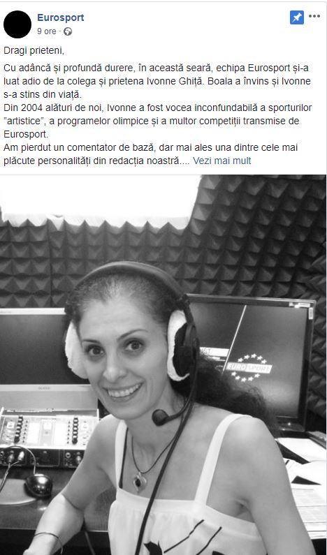 Ivonne Ghiță a încetat din viata după ce a fost răpusă de o boală.