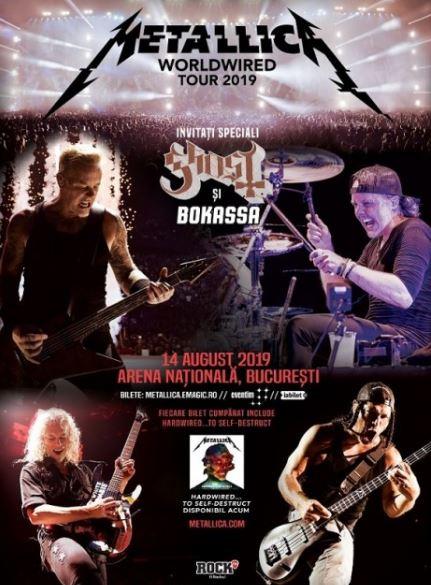 Afișul trupei Metallica ce anunță data, ora, și unde vor cânta în București