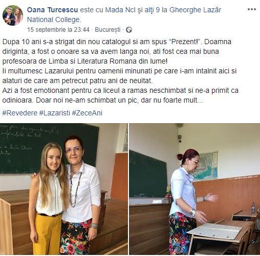 Oana Turcescu s-a întors la scoală după 10 ani