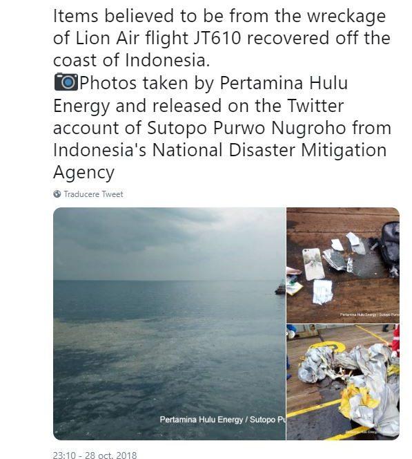 Resturile găsite în mare ale aeronavei din linia Lion air