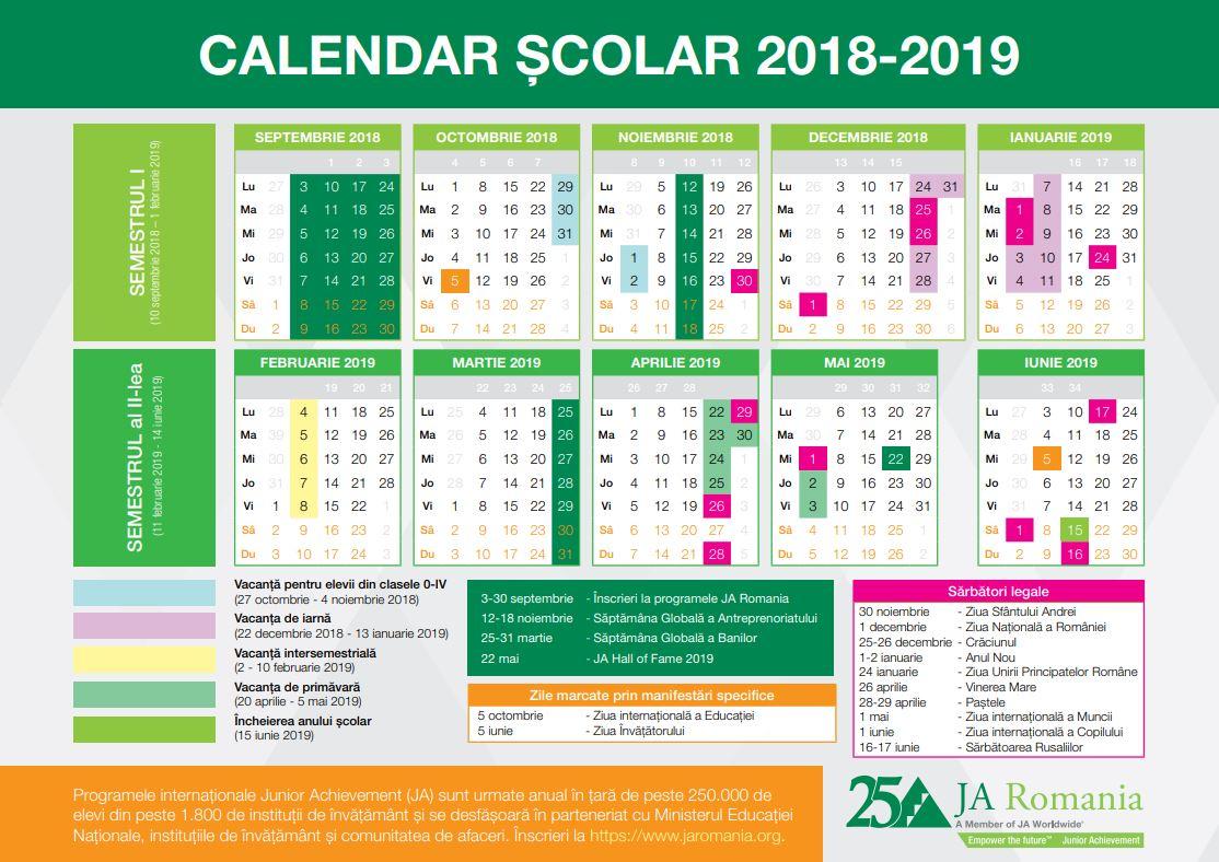 Calendarul anului școlar 2018-2019