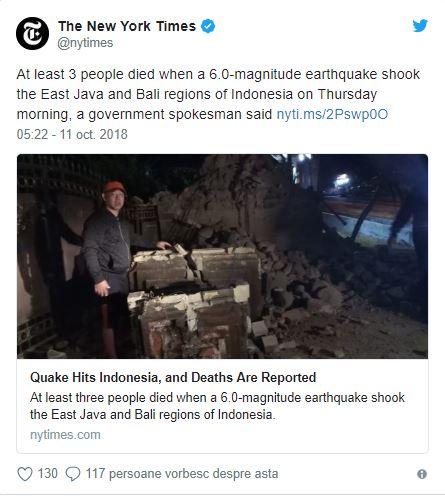 Cutremurul devastator din Bali și Java a dus la moasrtea a trei persoane
