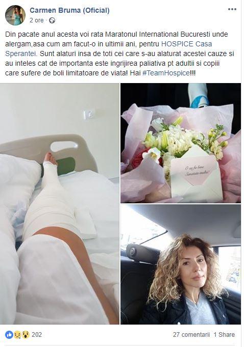 Carmen Brună se află la spital. Vedeta a postat un mesaj pe Facebook un mesaj lămuritor pentru admiratorii ei