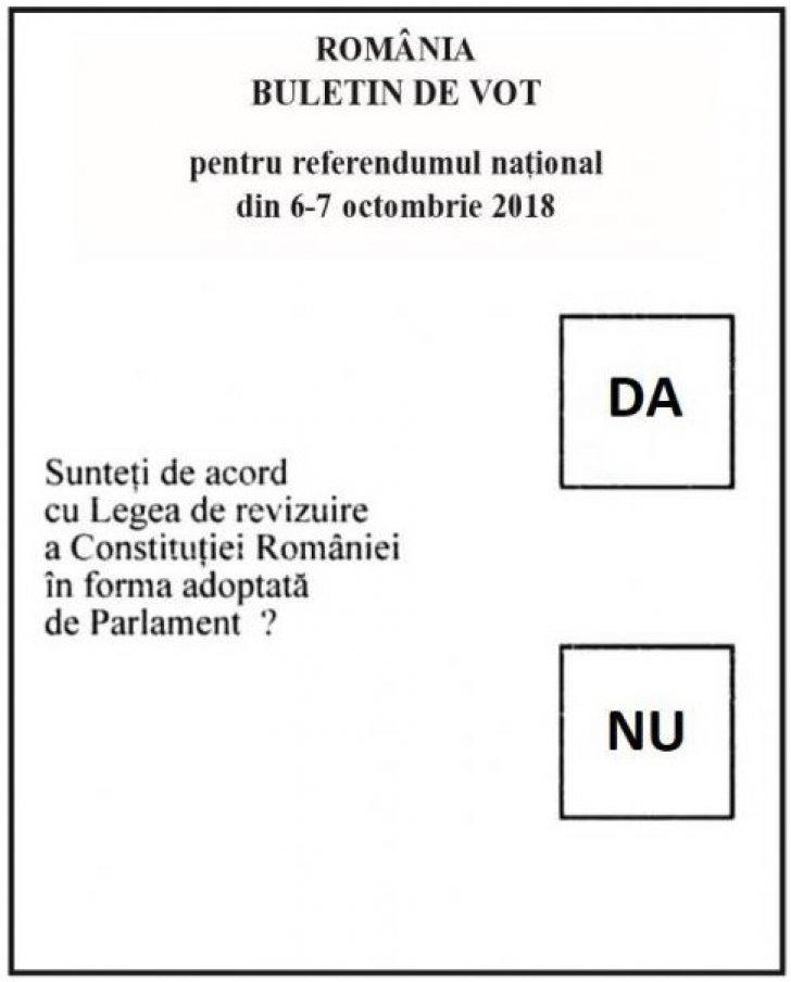 Așa arată un buletin de vot la referendumul pentru familie care a început la ora 7.00