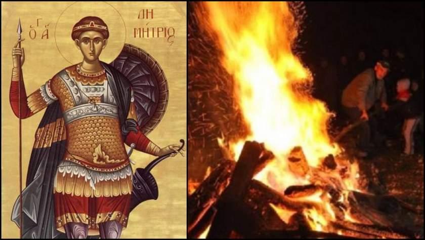 """Sfântul Dumitru aprinde """"Focul lui Sâmedru"""" pe daeluri, spre bucuria tuturor credincioșilor, dar în special a copiilor"""