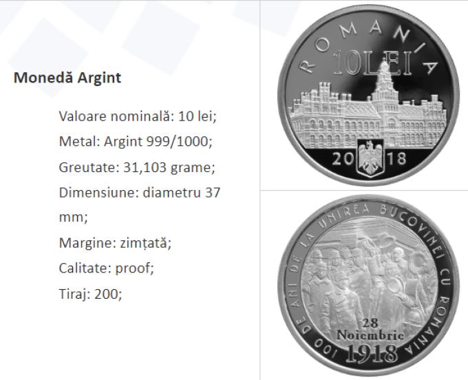 Monedele din argint au o valoare nominală de 10 lei, formă rotundă, diametru 37 mm, cant zimţat şi o greutate de 31,103 grame.