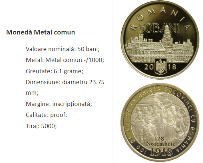 """Monedele din alamă au o valoare nominală de 50 bani, formă rotundă, diametru 23,75 mm, cant inscripţionat cu """"ROMANIA"""" şi o greutate de 6,1 grame."""