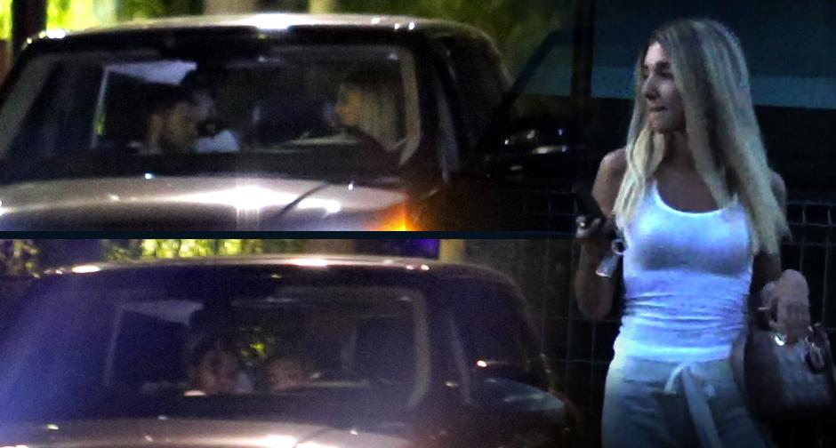 Alexandra Becali lângă mașina din care au ieșit ea și iubitul său.