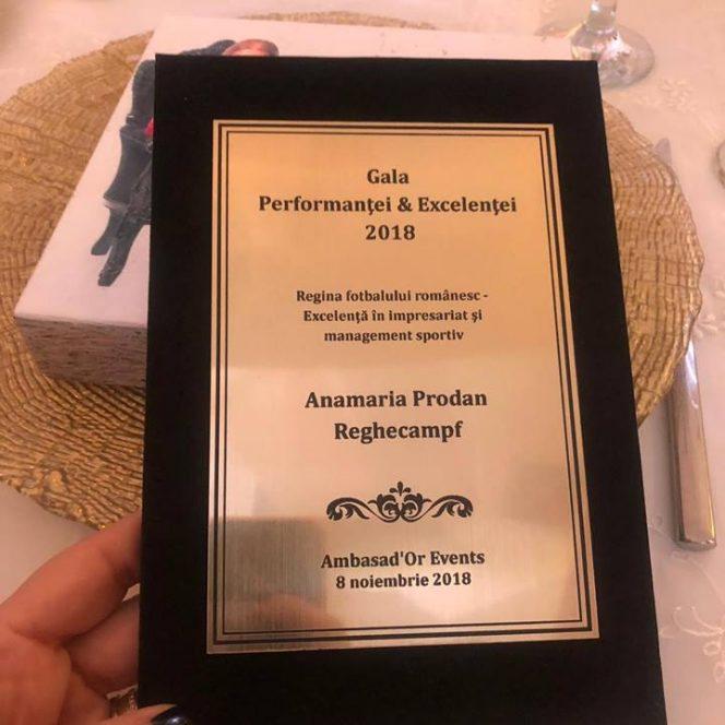 Premiul Aneimaria Prodan Reghecampf căştigat la Gala Performanţei şi Excelenţei 2018