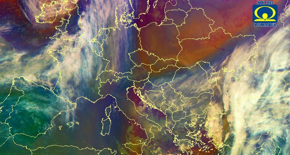 Harta Europei din satelit. Sursa. site-ul ANM