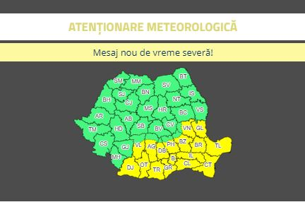 Zonele afectate de codul galben de vreme rece. Harta României