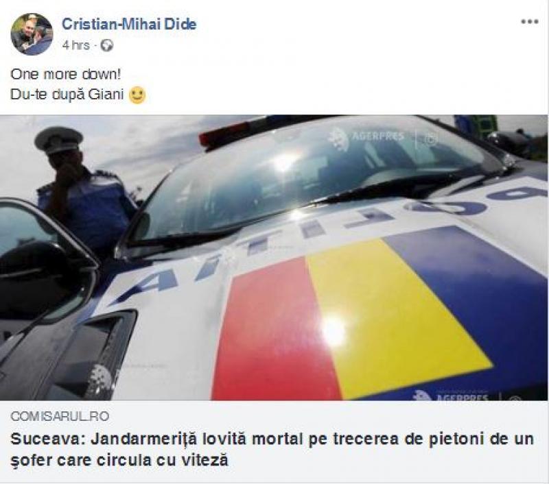 """Aceasta a fost postarea inițială a lui Mihai Dide. Oamenii au reacționat și l-au """"taxat"""" pe Dide. """"Nu ai cum să te bucuri că a murit un om"""""""