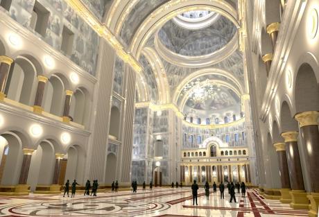 Imagine din interiorul Catedralei Mântuirii Neamului din care se vede foarte bine tavanul şi un perete lateral