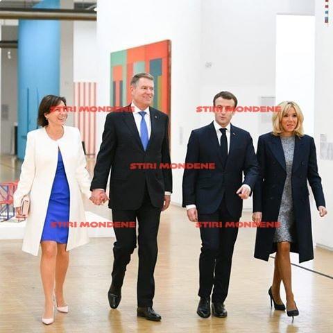 Carmen şi Klaus Iohannis, alături de Brigitte şi Emmanuel Macron în timpul vizitei din Franţa